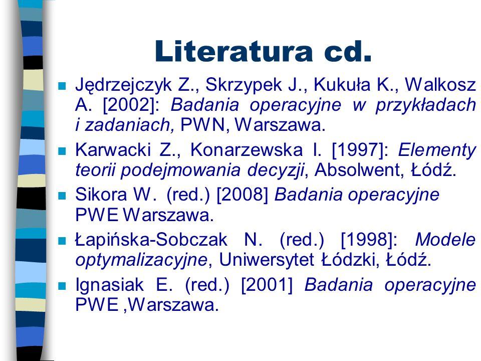 Literatura cd. Jędrzejczyk Z., Skrzypek J., Kukuła K., Walkosz A. [2002]: Badania operacyjne w przykładach i zadaniach, PWN, Warszawa.